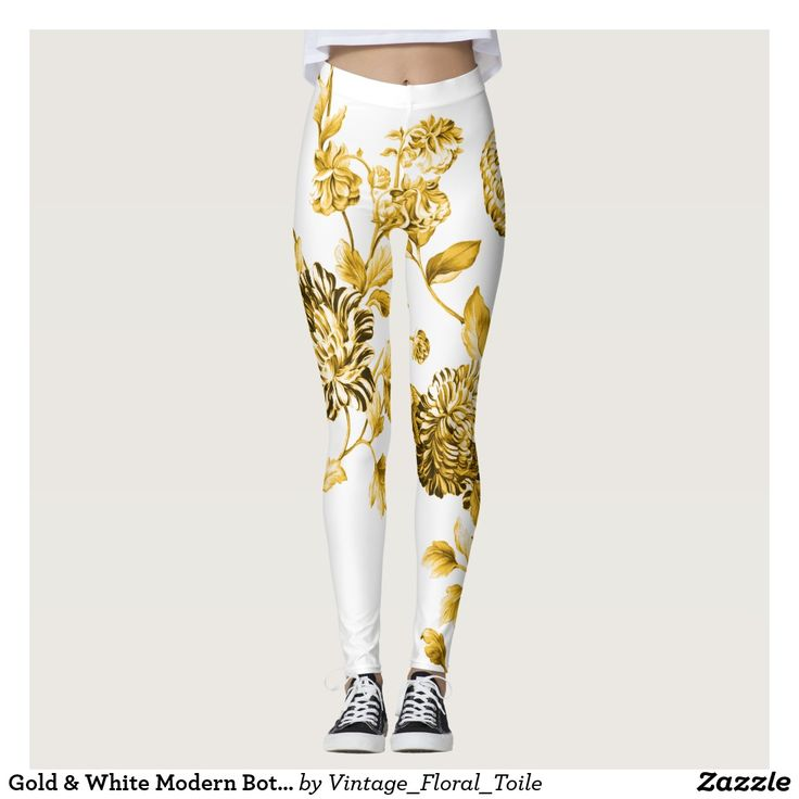Gold & White Modern Botanical Floral Toile