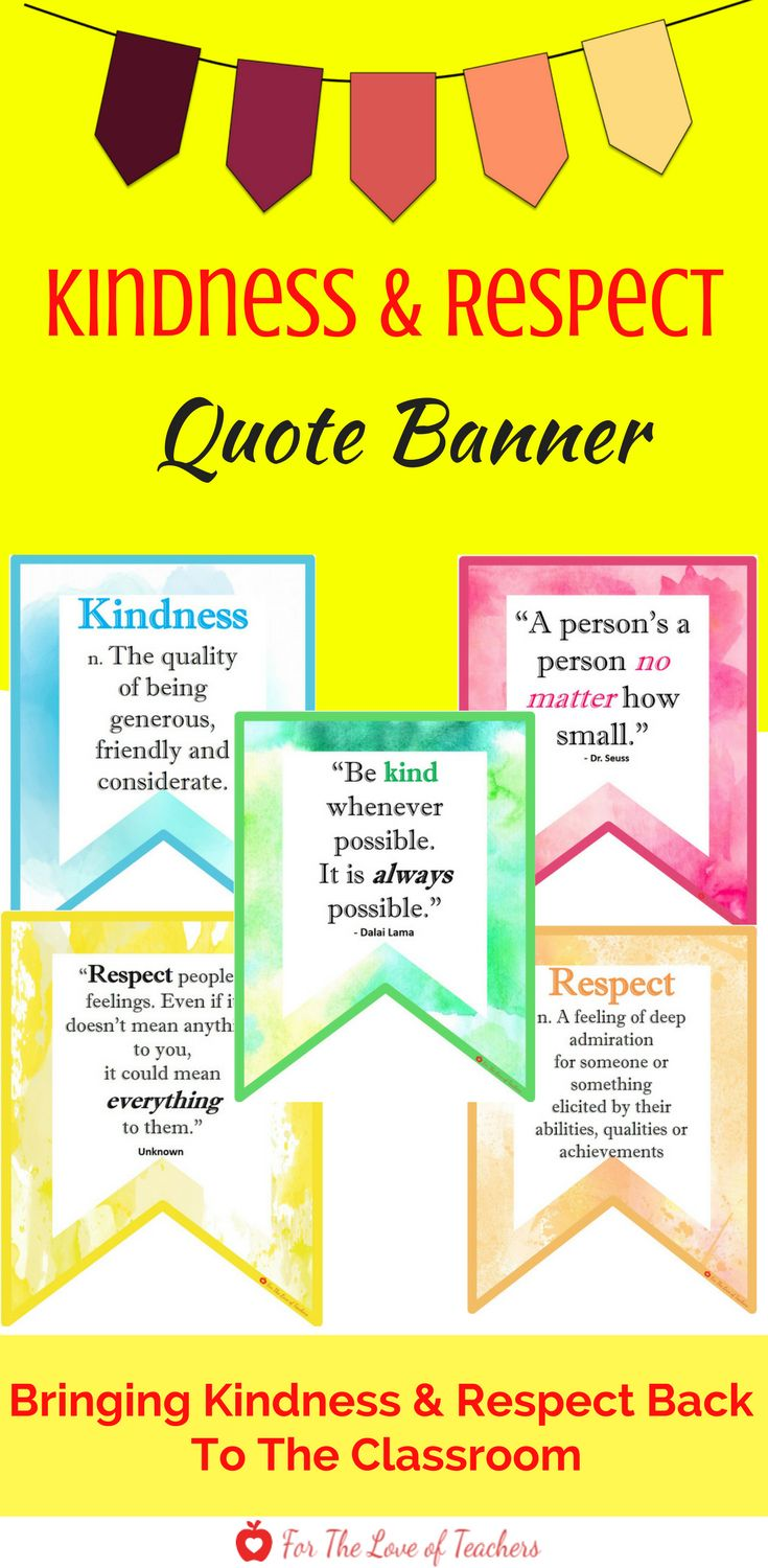 Bring kindness and respect back to your classroom. Post this banner in your classroom to promote and encourage a community of kind and respectful human beings. This banner could be used in multiple ways: *Display the entire banner from left to right. *Create smaller banners around your classroom or over a bulletin board. *Display pennants separately on a wall or on a bulletin board. Get it at For The Love of Teachers Shop.