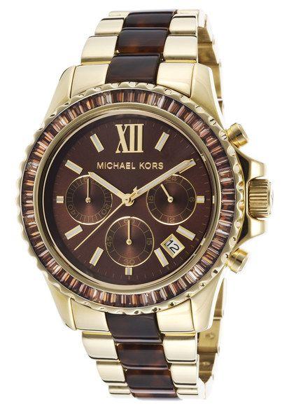 Michael Kors Women\u0027s Everest Chrono Gold-Tone Steel and Tortoise Acetate  Brown Dial