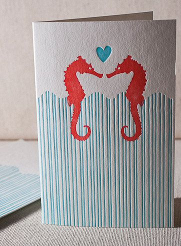 Letterpress Greeting Card - Seahorse Anniversary, Bamboo paper, patterned envelope, C4H19T. $4.00, via Etsy.