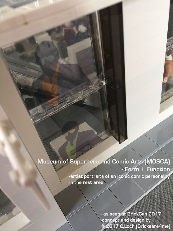 An original MOC built by AFOL © 2017 C.Loch (Bricksare4me) - ground floor windows with artist's portraits of an iconic comic personality. Blogged on https://www.archbrick.com/single-post/2017/05/05/MOSCA and interviewed at Lisaloveslego.com. #legobricks #moc #afol #modernarchitecture #photography #legobuildings #moderndesign #legomoc #museum #bricksare4me #superhero #comics #arts #architecturelego