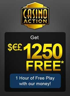 Aside from the slick site design which hints at the quality of the games within, it is the generous sign up bonus that really makes Casino Action shine. All new players can take advantage of an incredible $1250 and 1 hour free to make as much money at the casino as possible!