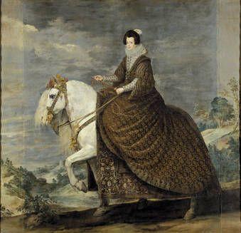 """""""La reina Isabel de Borbón, a caballo"""", Diego Velázquez. Óleo sobre lienzo, h. 1635"""