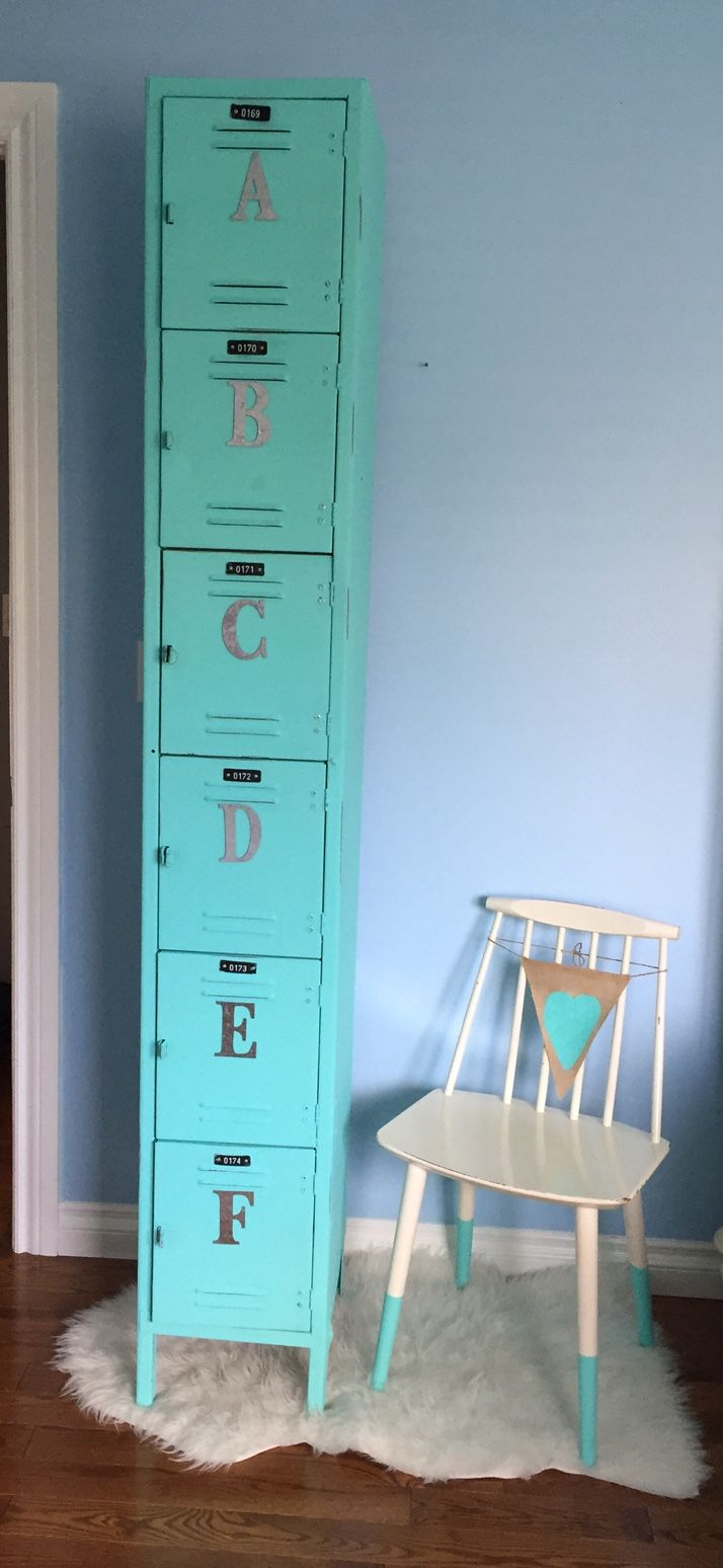 Vintage employee locker chalk painted and revived! Awesome storage options from Dustbin Revived.