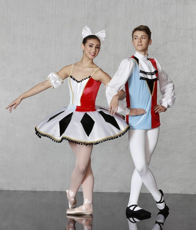 """HARLEQUIN MALE AND FEMALE BALLET COSTUMES Nutcracker Collection HARLEQUIN DOLL - This lovely set includes our """"Flexi Fit"""" classical ballet bodice leotard and basque in powder blue and red stretch velvet. 8 layer tutu with sumptuous satin plate has diamond design, sweet pom poms and gold Venice lace trim all around. Hair bow and sleeves included. Made in sizes child medium on up."""