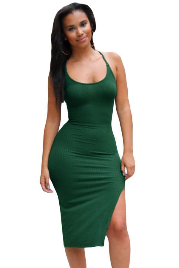 Midi Robes Armee Croisillon Vert Back Side Slit Amenagee Slip Robe Pas Cher www.modebuy.com @Modebuy #Modebuy #Vert #me #robes #sexy