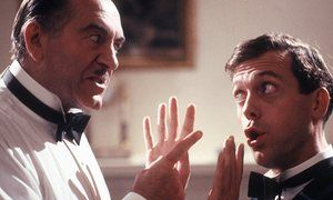 'Far from gruntled' … John Turner as Roderick Spode and Hugh Laurie as Bertie Wooster in ITV's Jeeves and Wooster.  Wodehouse's Code of the Woosters humor classic is a masterful textbook on how to defeat dictators past, present and future -- ridicule them.