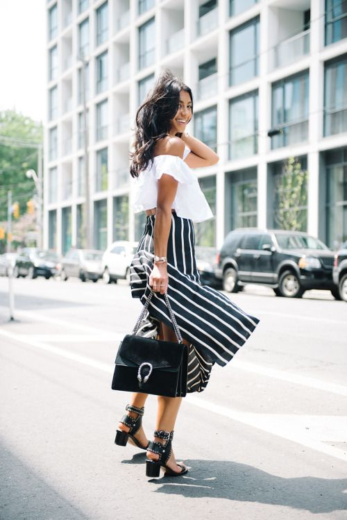 striped skirt and off the shoulder top