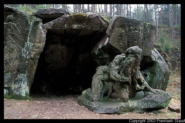 Sculpture of Juan Garinus the Hermit  Matthias Bernard Braun's Bethlehem near Kuks, Czech Republic