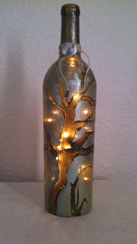 Handpainted Recycled Wine Bottle Lamp by reWINEdbottleart