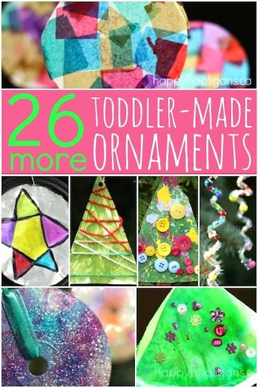 """26 More Easy Christmas Ornaments - Happy Hooligans """"26 MORE easy Christmas ornaments that are quick to set up and simple to do! All of the homemade ornaments in this collection are perfect for last minute Christmas crafting sessions, and if your kids like to give hand-made goodies to friends and relatives, these make terrific, little gift and gift-toppers."""" Going in Early Learning, Holiday Games, and Homeschool."""