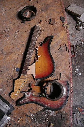 broken guitar. smashed guitar, jimi guitar,burned guitar, crashed guitar