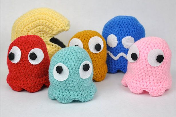 Crochet Pac-Man and Ghosts.