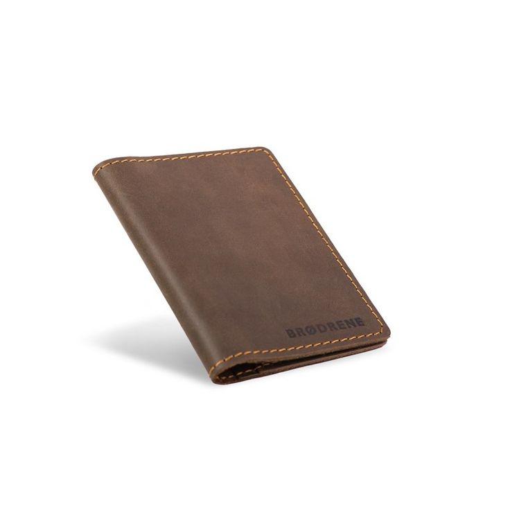Skórzany cienki portfel slim wallet brodrene ciemny brąz