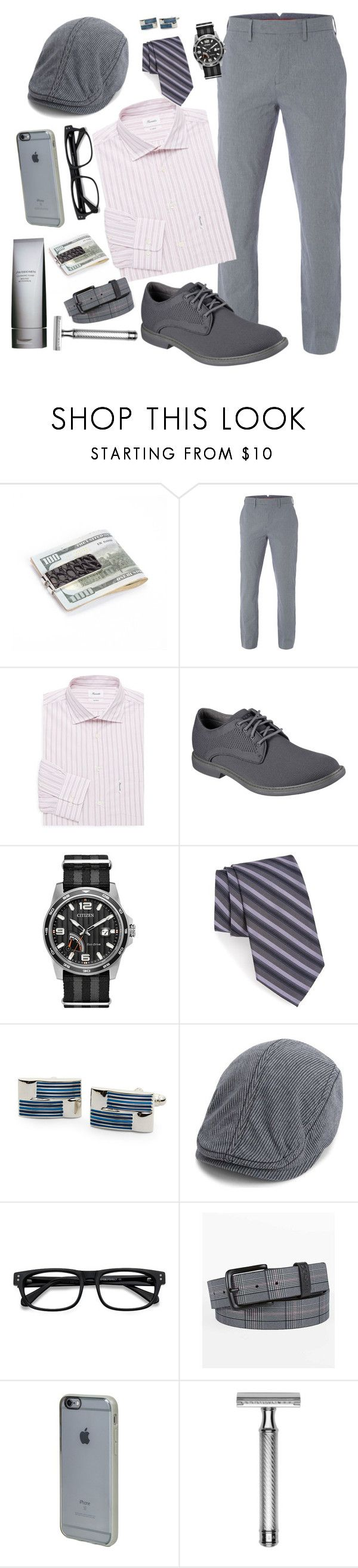 """""""The Man in Grey Stripes"""" by jazzola-19 ❤ liked on Polyvore featuring White Stuff, Façonnable, Skechers, Citizen, Calibrate, Kenneth Cole Reaction, Ben Sherman, EyeBuyDirect.com, Hurley and Incase"""
