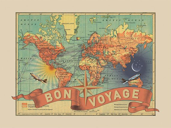 Bon Voyage Map Print | ImagineNations | Bourbon & Boots