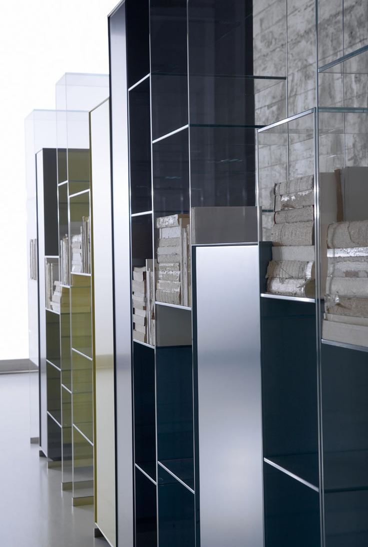 Antoniolupi CITY   Design Carlo Colombo   Shelves Glass Transparent ,  Yellow, Blue.