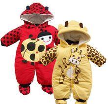 Nieuwe herfst winter kleding sets cartoon dier stijl katoen- gewatteerde baby jongens rompertjes lieveheersbeestje koeien en warme kinderen meisjes badysuit(China (Mainland))