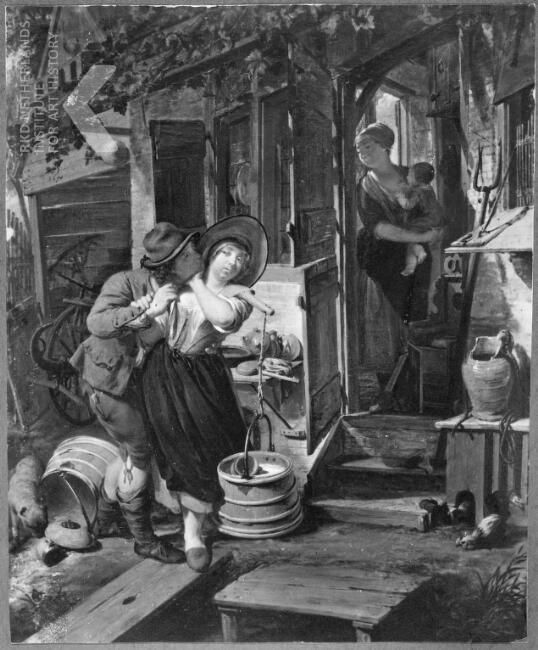 Nicolaas Verkolje, A young man making a pass at a milkmaid.