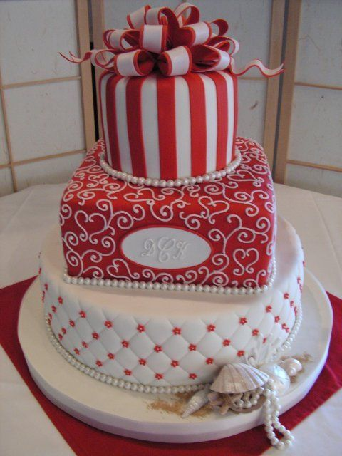 www.facebook.com/cakecoachonline - sharing....red/white layers/sea shell