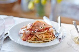 Welsh pancakes with bacon