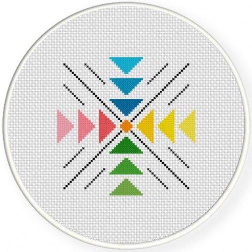 Colorful Geometric Pattern Cross Stitch Illustration