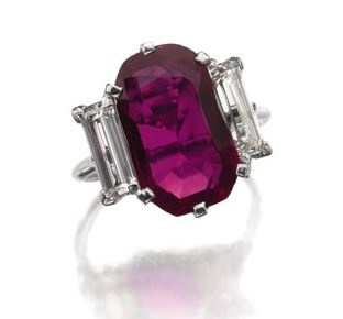 Highly Important and rare Burmese ruby and diamond ring, Cartier