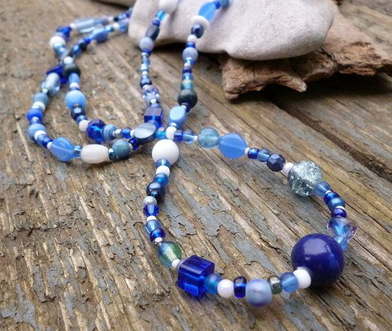 Blue & White long beaded Necklace, blue necklace, beaded jewellery, nautical necklace, coastal, handmade necklace