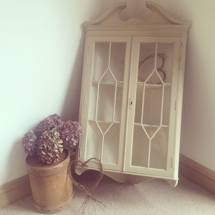 x Sold x Wall mounted corner cupboard painted with Country Grey and Original inside.  x