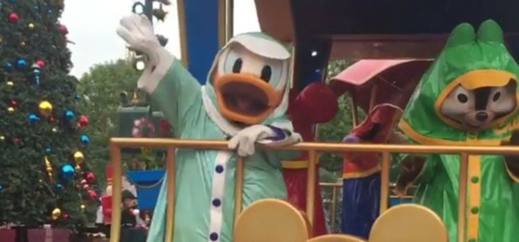 Donald in his Rainy Day outfit at Hong Kong Disneyland