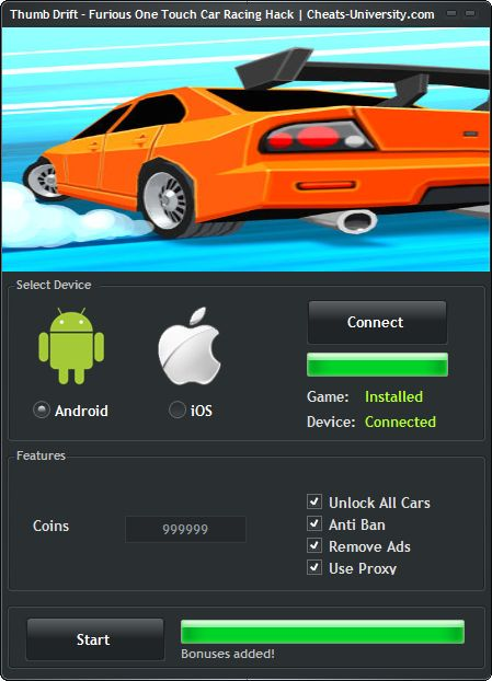 Thumb Drift – Furious One Touch Car Racing Hack – Android iOS Cheats  http://cheats-university.com/thumb-drift-furious-one-touch-car-racing-hack/
