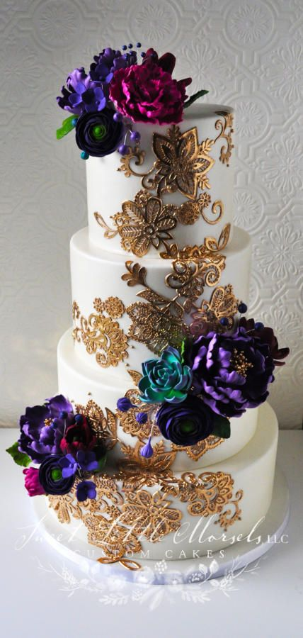 Gold Lace Wedding Cake by Stephanie - http://cakesdecor.com/cakes/245728-gold-lace-wedding-cake
