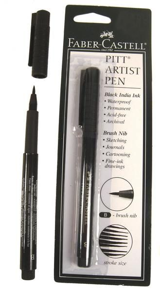 Faber-Castell Pitt Brush Artist Pens. I am a big fan of these pens. Carry a set everywhere.