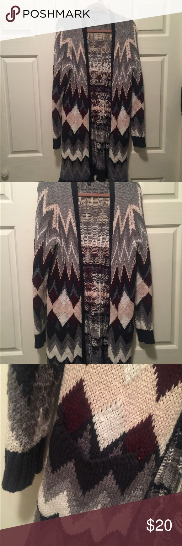 American Eagle multi color cardigan Beautiful multi color long cardigan sweater is a must have for cooler temperatures. Has pockets and is very heavy and well made. American Eagle Outfitters Sweaters Cardigans