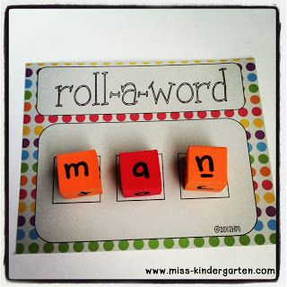 DIY Foam Dice. Cubes from Dollar Tree. Miss Kindergarten has two printables. One for CVC words and one for onset and rhyme.