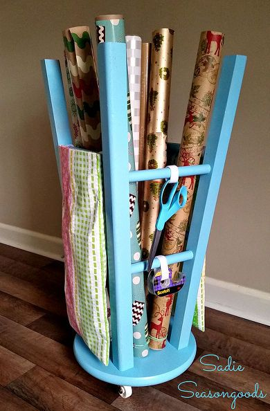 upcycled kitchen stool gift wrap caddy, crafts, organizing, repurposing upcycling, storage ideas.. I LOVE THIS!!!
