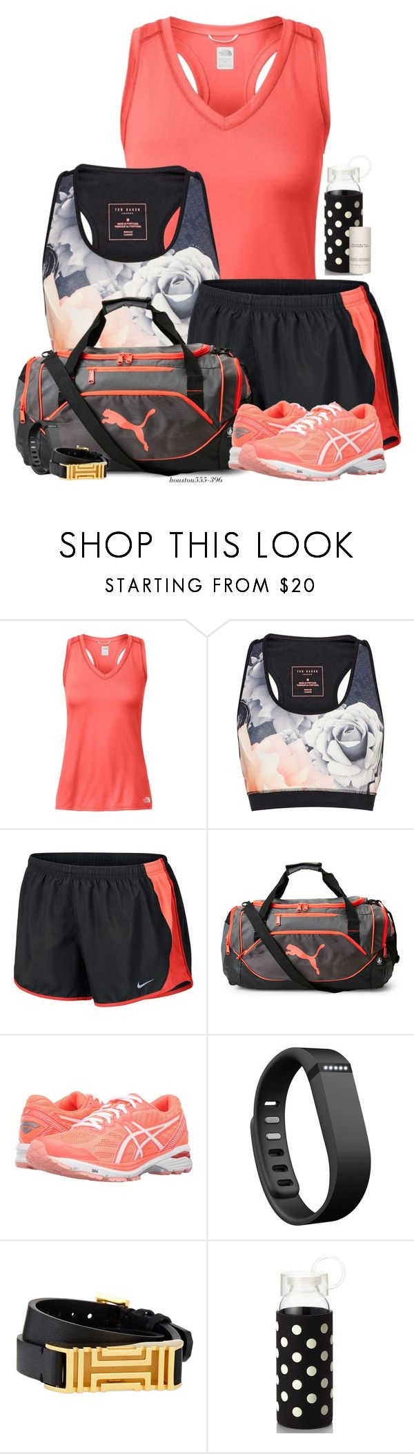 """Running out of time!"" by houston555-396 ❤ liked on Polyvore featuring The North Face, Ted Baker, NIKE, Puma, Asics, Fitbit, Tory Burch, Kate Spade and Donna Karan"