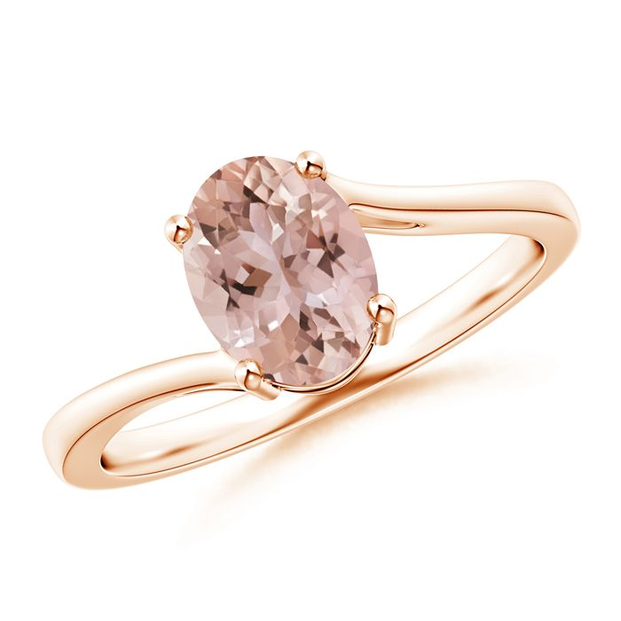 Angara Solitaire Morganite Infinity Knot Ring in 4-Prong Setting tNHZKJY