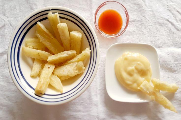 Met ons recept voor lekker knapperige cassave frietjes kan je de telo nu ook maken met een fractie van de olie waarin je de cassave normaal zou frituren.