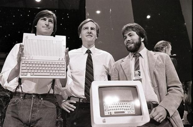 Steve Jobs, left, chairman of Apple Computers, John Sculley - jobs that are left