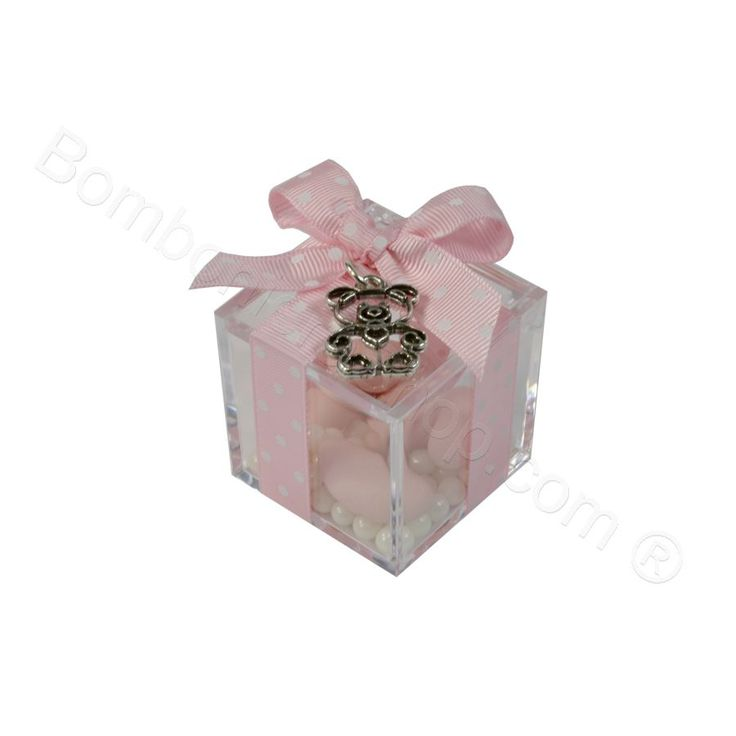 Ciondolo Orsetta in metallo argentato confezionato rosa