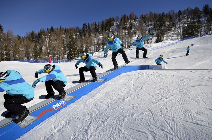 Developments on the #snowboard in the #MarillevaSnowpark, one of the five different #snowparks of the largest #ski area of #Trentino. Visit #SkiareaCampiglio!
