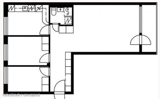3 rooms, kitchen and a balcony (64,5m2) / Läpitalon kolmio erillisellä keittiöllä ja parvekkeella (64,5m2) #pohjapiirros