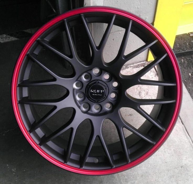 4 lug 4x100 4x1143 4x45 black n red 17 inch wheels set