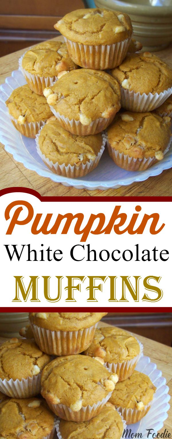 This Pumpkin and White Chocolate Muffins Recipe, makes a sweet dessert style muffin.