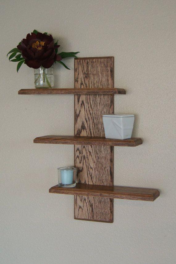 Three Tier Modern Wall Shelf van MidnightWoodworks op Etsy