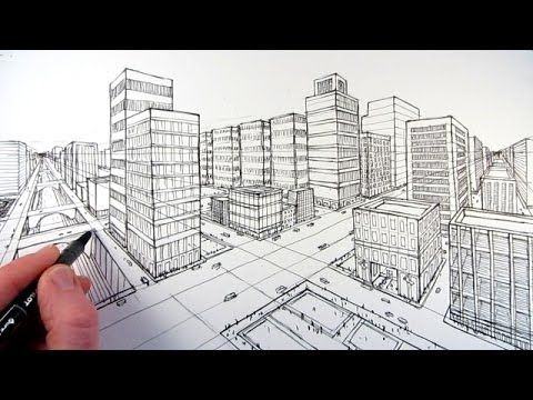 How To Draw A City Using Two Point Perspective❤️
