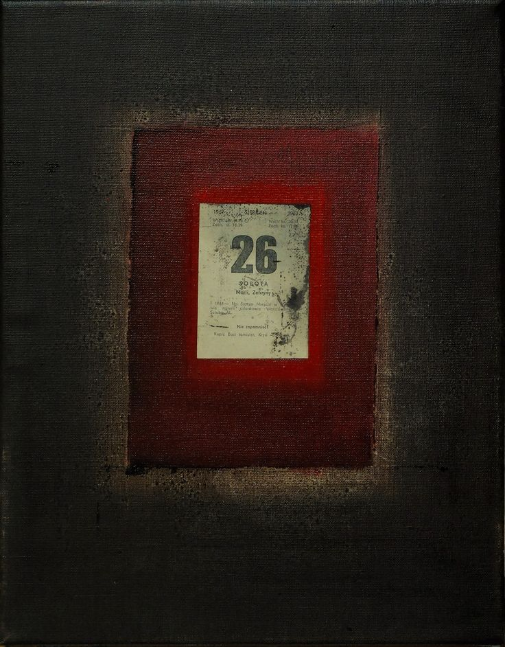 Kartka z Kalendarza/ Page from the Calendar, oil, collage on canvas, 2016, 43x34 cm