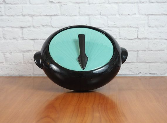 1950's Shawnee Pottery Sundial Casserole Dish // Turquoise and Black Art Deco Sundial Design