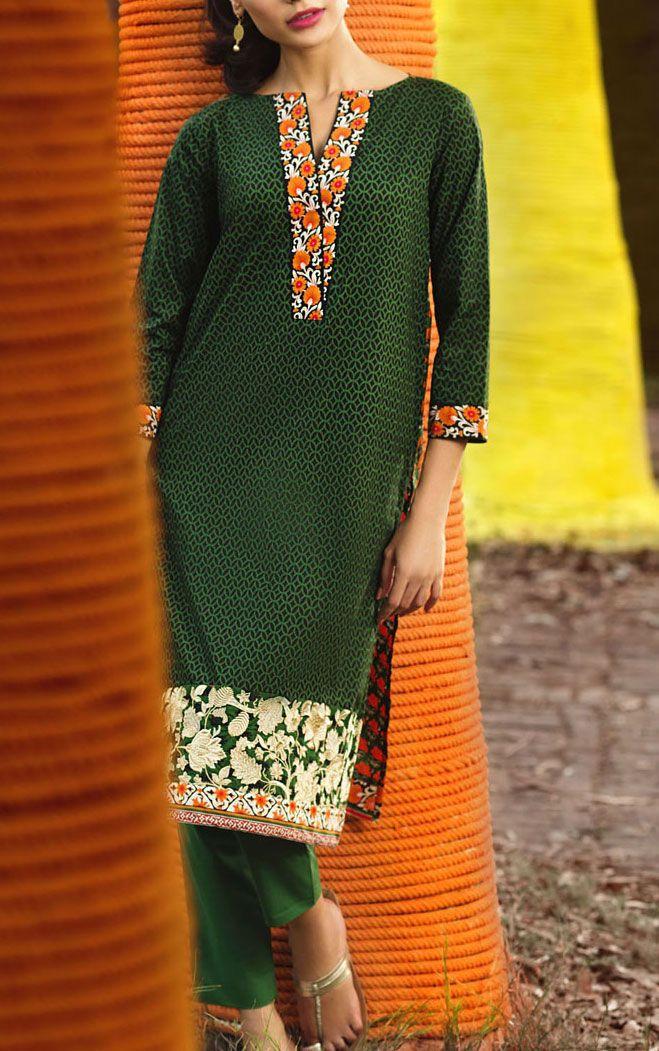 Buy Dark Green Cotton Dress by Khaadi 2015.